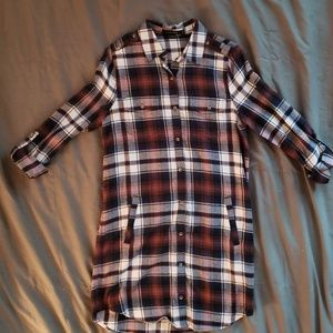 Love Tree Plaid Flannel Button Up Dress